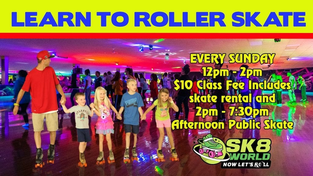 Learn to Roller Skate Class graphic for Sk8world Portage IN