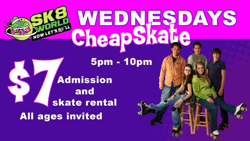 Roller Skate at Sk8world Portage for $7 including skates on Wednesdays 5pm - 10pm