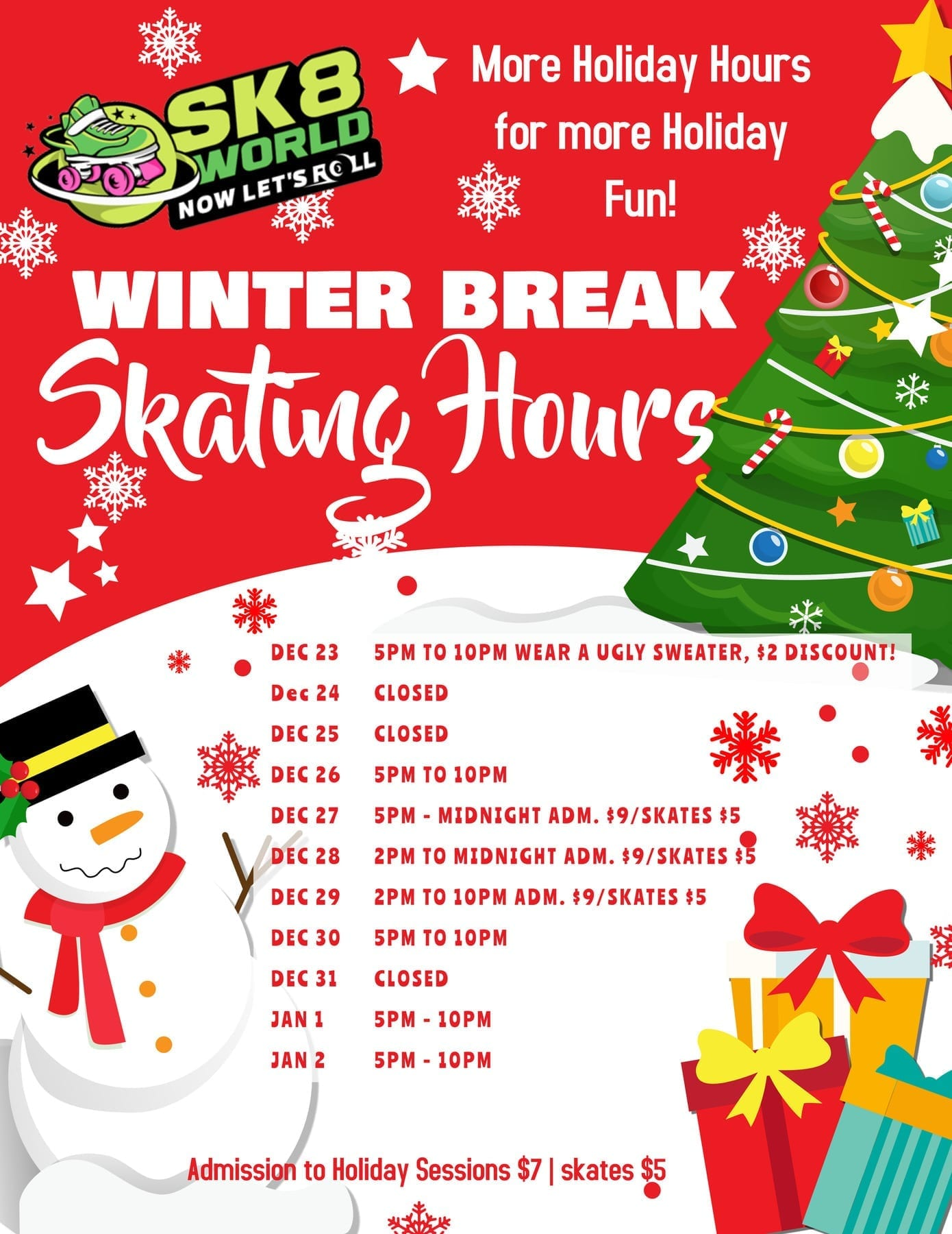Winter Break Skate Hours flyer with snowman and christmas tree