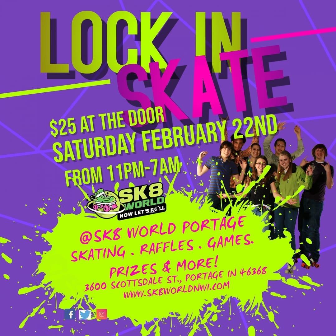 Lock In All Night Skate Ad for Februarty 22nd