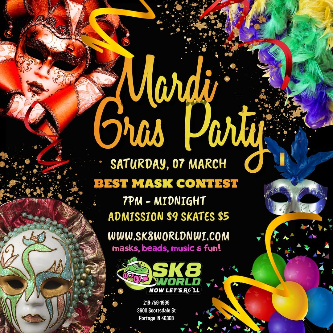 Mardi Gras Party information ad for Sk8 World Portage